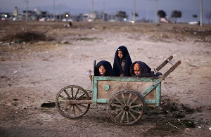Three Children in a cart